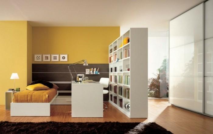 interessante-wandfarben-ideen-fürs-schlafzimmer-weiß-und-gelb