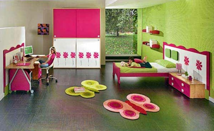 kinderzimmer-gestalten-mädchen-wunderschöne-grüne-wandgestaltung