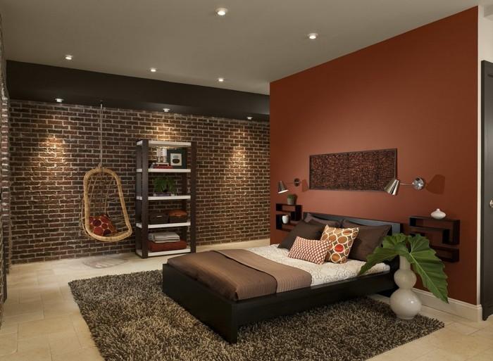 kreatives-modell-schlafzimmer-wunderschöne-wandfarbe