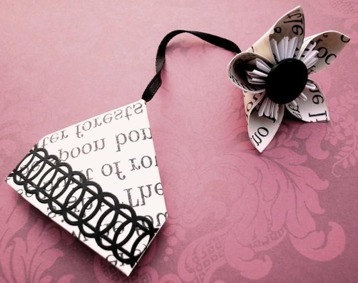 lesezeichen-selber-machen-origami-basteln-sehr-geschmackvoll-in-weiß-und-schwarz
