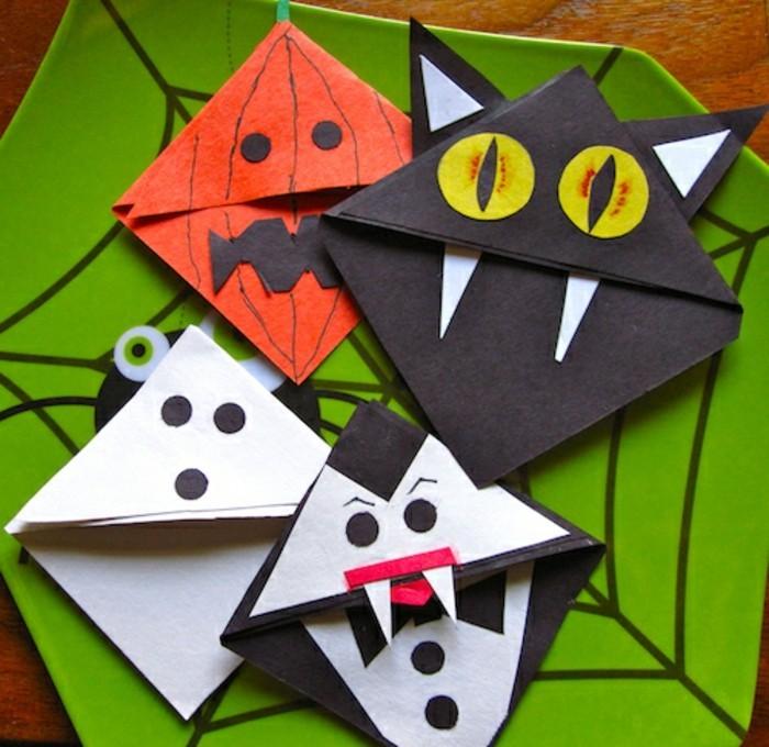 lesezeichen-selber-machen-origami-basteln-sehr-kreative-halloween-figuren