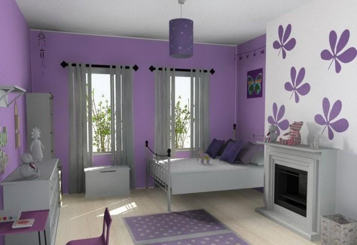 mädchenzimmer-möbel-graue-moderne-möbel-und-elegante-tapeten