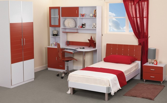 mädchenzimmer-möbel-schicke-rote-gardinen-und-modernes-bett