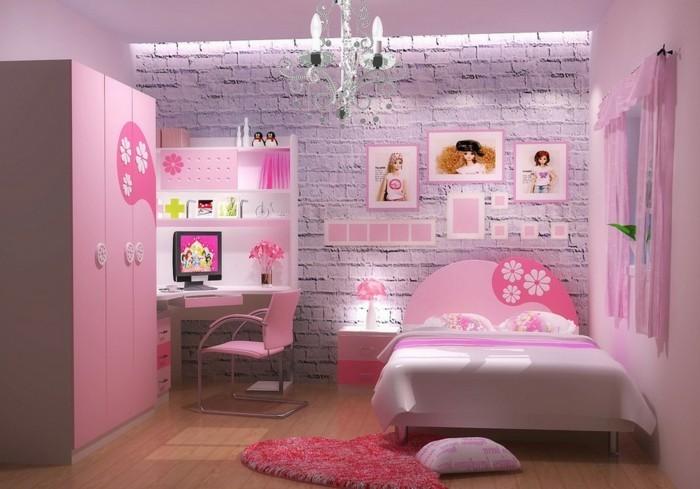 mädchenzimmer-möbel-sehr-schönes-bett-und-rosige-wandgestaltung