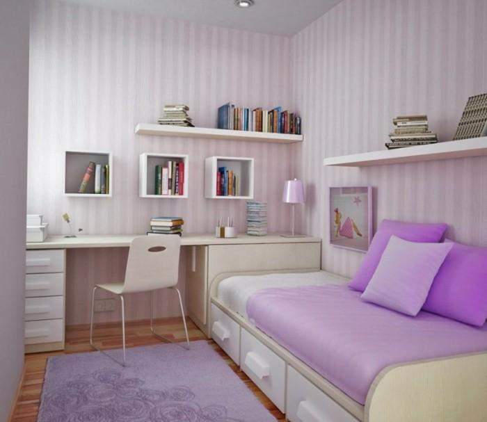 mädchenzimmer-möbel-weißer-schreibtisch-und-bett-sofa-mit-lila-kissen