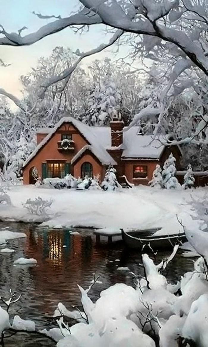 malerische-Winterlandschaft-Bilder-Häuser-See-Bäume
