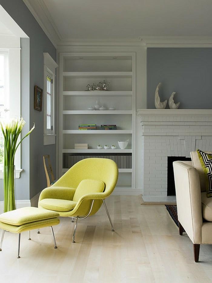 moderne-gestaltung-wohnzimmer-gelber-stuhl-wunderschönes-modell