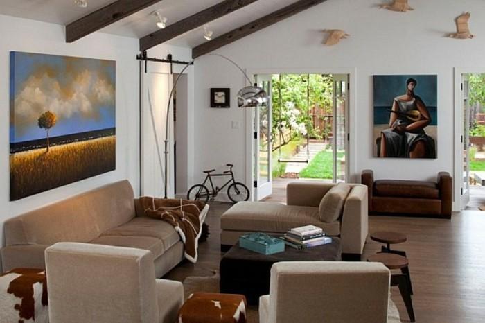 Modernes Renoviertes Wohnzimmer Gemütliche Inneneinrichtung