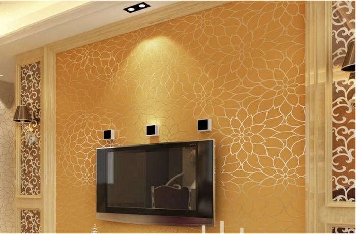 wohnzimmer accessoires bringen leben ins zimmer:wohnzimmer wände tapeten : orange wände im kleinen wohnzimmer