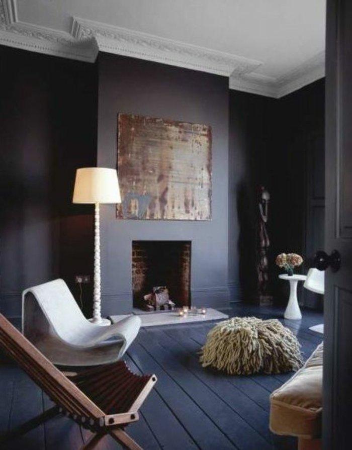 Originelle Wohnzimmer Einrichtung Kamin Wandfarbe Anthrazit