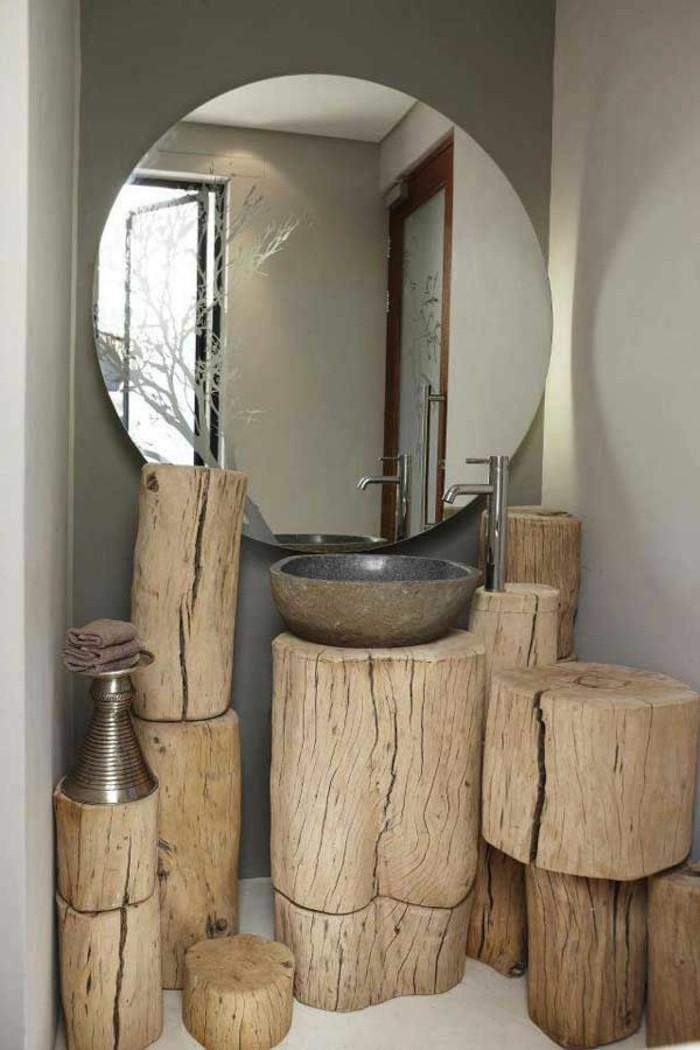 originelle-badideen-großer-runder-spiegel-tolle-hölzerne-möbel