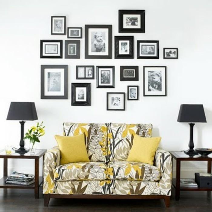 originelle-wandgestaltung-ideen-viele-bilder-über-dem-sofa-im-wohnzimmer
