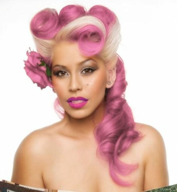 rockabily-frisuren-extravagante-rosige-haare