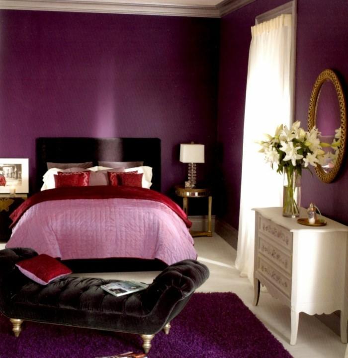 romantisches-schlafzimmer-gestalten-wandfarben-ideen-lila-nuancen