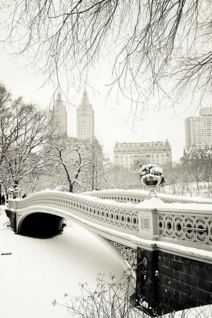 schöne-Winterbilder-Brücke-mit-wunderschöner-Architektur-Bow-Bridge-Central-Park-New-York