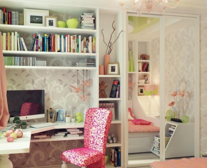 schöne-zimmer-ideen-für-mädchen-herrliche-tapete-und-rosiger-stuhl