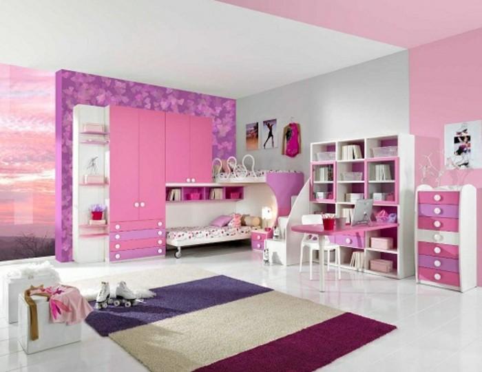 schöne-zimmer-ideen-für-mädchen-super-schöner-teppich-und-rosige-wandgestaltung