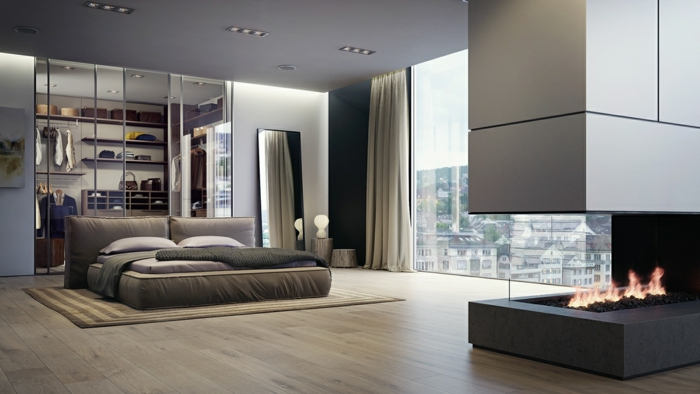 schlafzimmer-farben-unikale-graue-tönungen-moderner-kamin