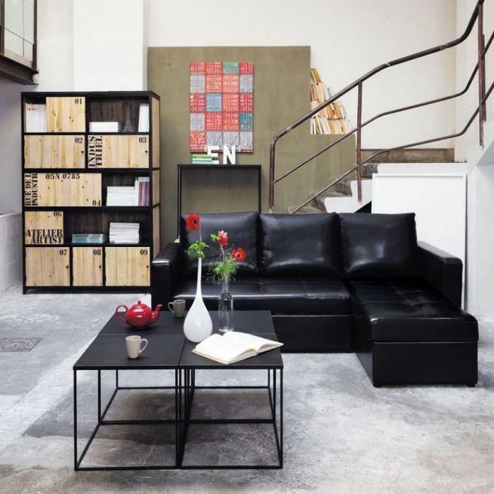 schwarze-Möbel-Ledersofa-Wohnzimmertisch-mit-quadratischer-Form
