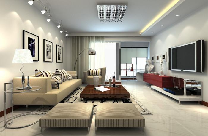 stilvolles-Wohnzimmer-Interieur-niediger-Kaffeetisch