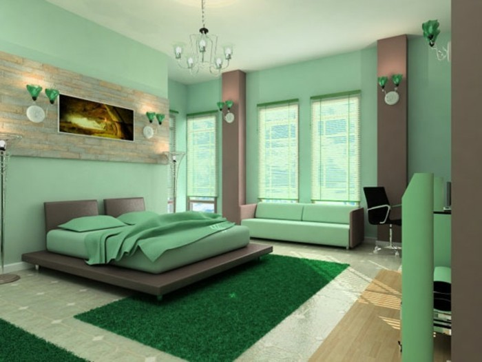 wandfarbe-grün-effektvolles-modell-schlafzimmer