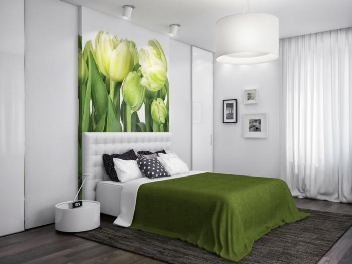 wandfarbe-grün-elegantes-schlafzimmer-super-bett-und-bild-an-der-wand