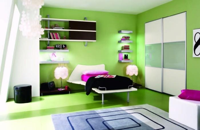 wandfarbe-grün-kreatives-schlafzimmer-ausstatten-knallige-tönungen