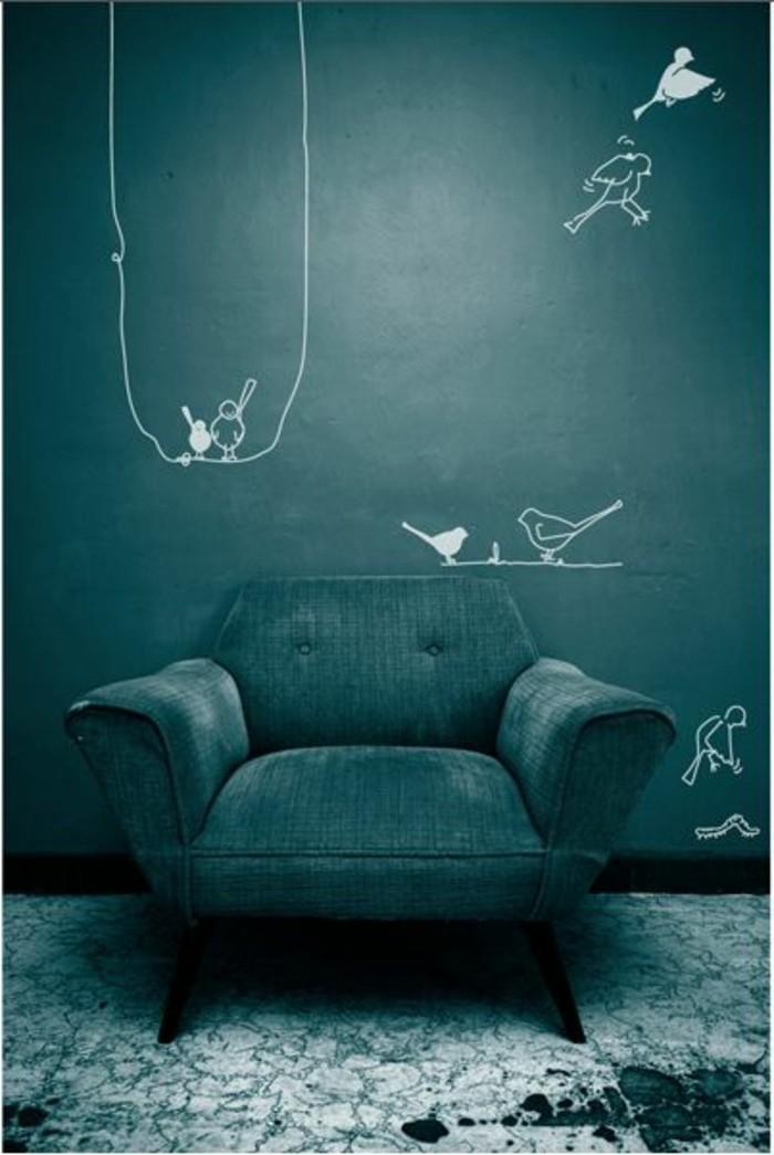 Wandfarbe Grn Sehr Kreatives Schlafzimmer Mit Einem Sessel