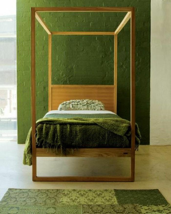 Wandfarbe Grün Wunderschönes Modell Schlafzimmer Elegantes Bett