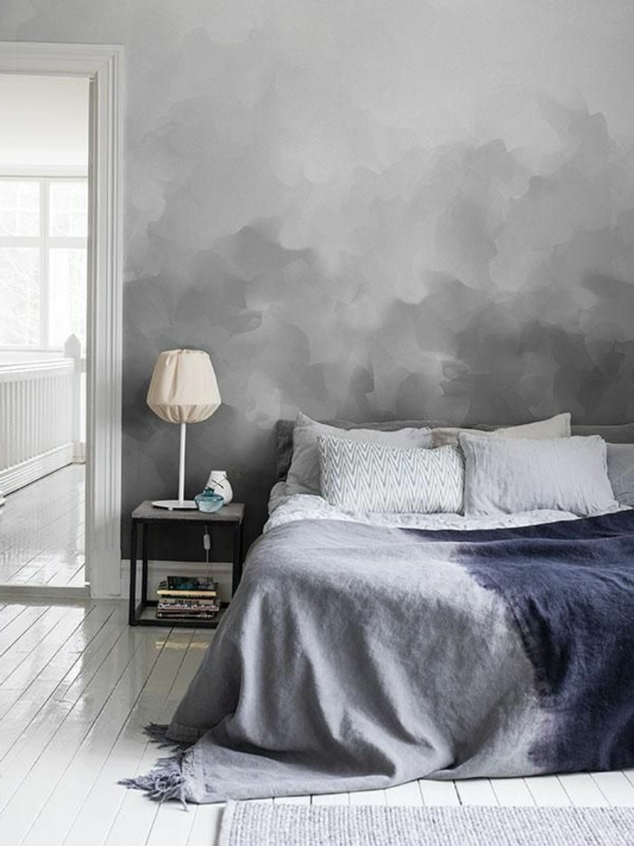 Wandfarbe Grau Herrliches Bett Modell Im Extravaganten Schlafzimmer