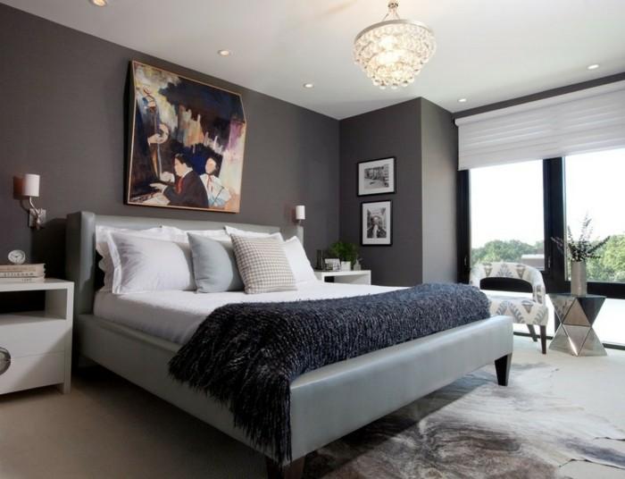 wandfarbe-grau-innovatives-modell-schlafzimmer-bild-über-dem-bett
