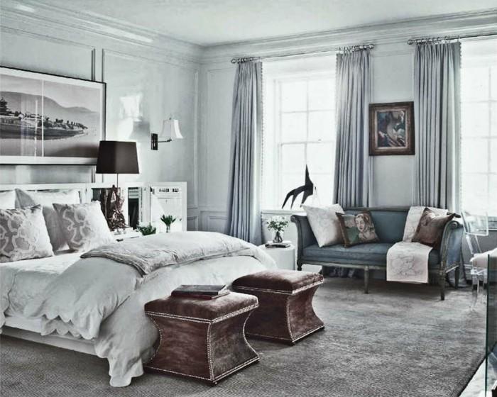 wandfarbe-grau-interessantes-gemütliches-modell-schlafzimmer