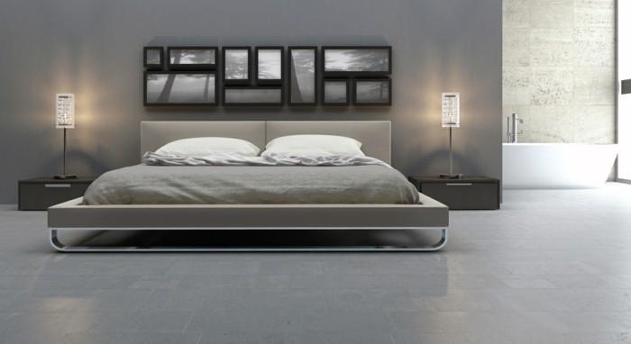 Kreatives Schlafzimmer In Der Wandfarbe Grau Gestalten