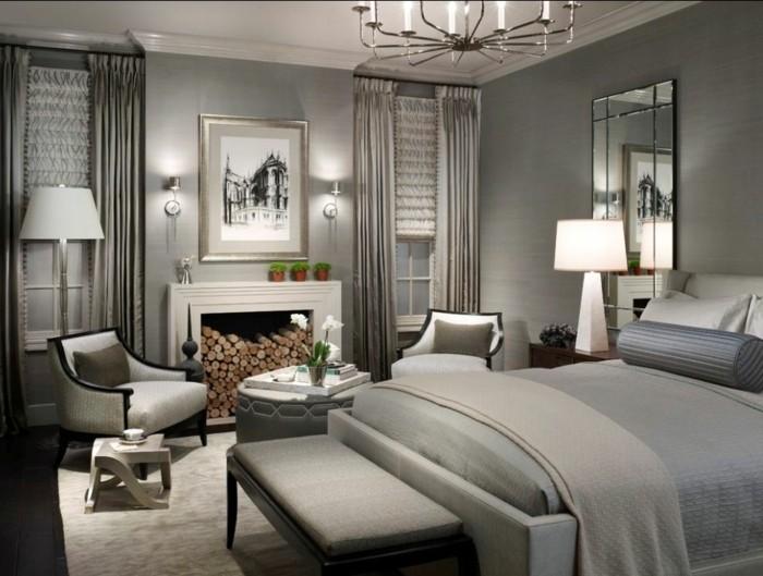 Wandfarbe Grau Modernes Elegantes Schlafzimmer Gestalten
