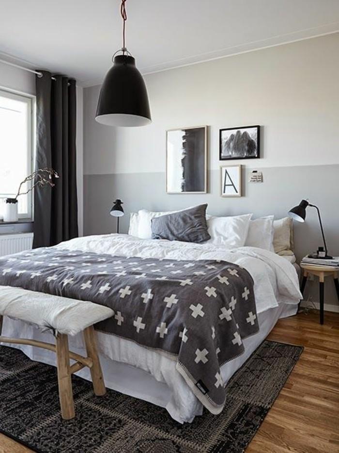 wandfarbe-grau-schwarze-hängende-lampe-über-dem-bett-im-schlafzimmer