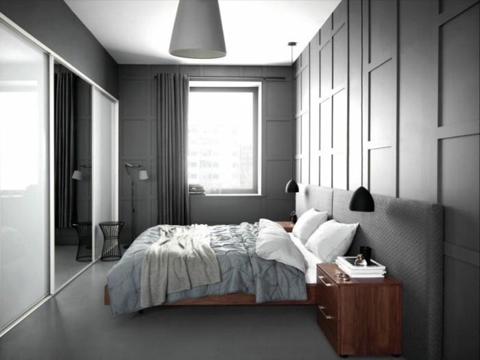wandfarbe-grau-sehr-elegante-gestaltung-von-schlafzimmer