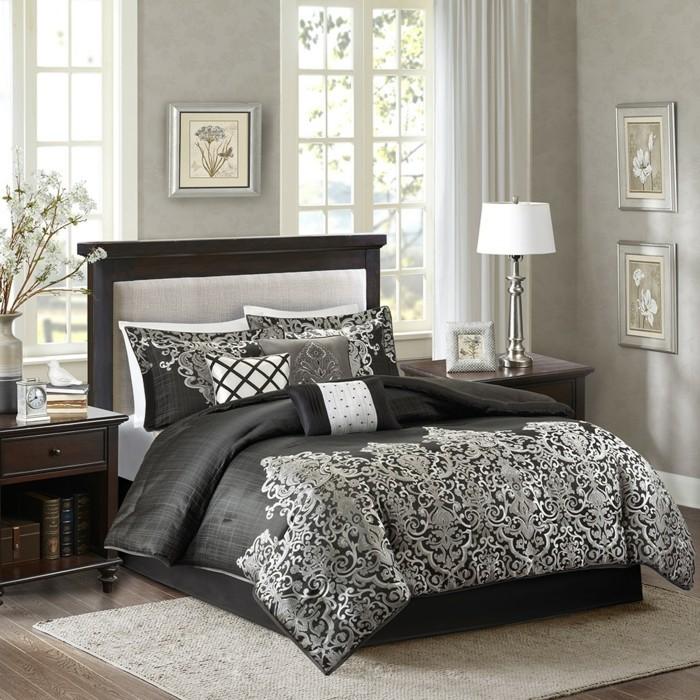 wandfarbe-grau-tolles-bett-modell-große-fenster-im-schlafzimmer