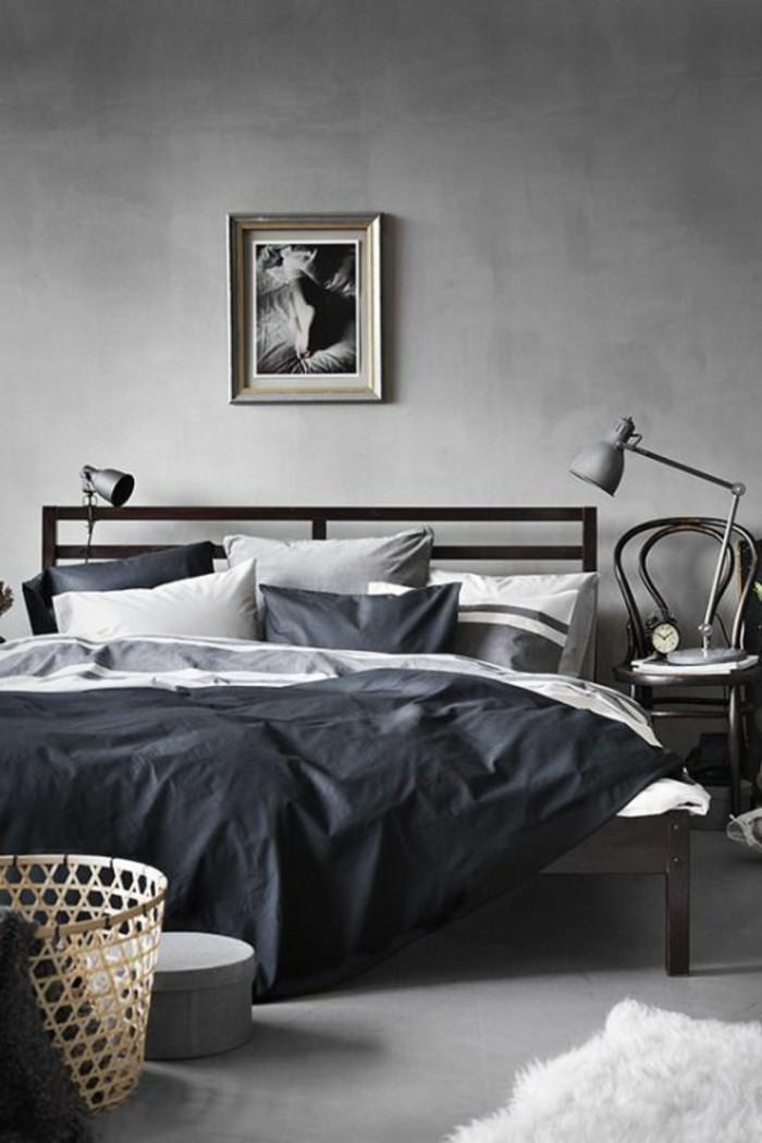 Schlafzimmer Gestaltung Grau #20: Wandfarbe-grau-unikale-schlafzimmer-gestaltung-bequemes-bett
