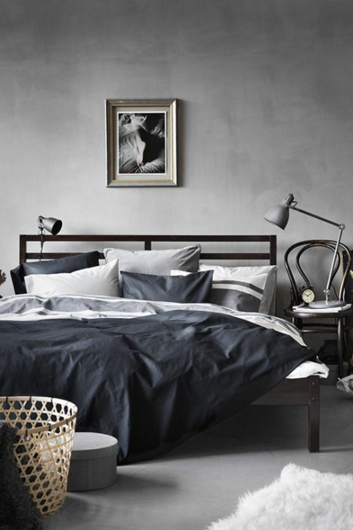 Wandfarbe Grau Unikale Schlafzimmer Gestaltung Bequemes Bett