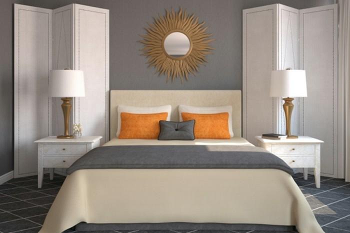 wandfarbe-grau-wunderschönes-3d-modell-schlafzimmer-orange-kissen-auf-dem-bett