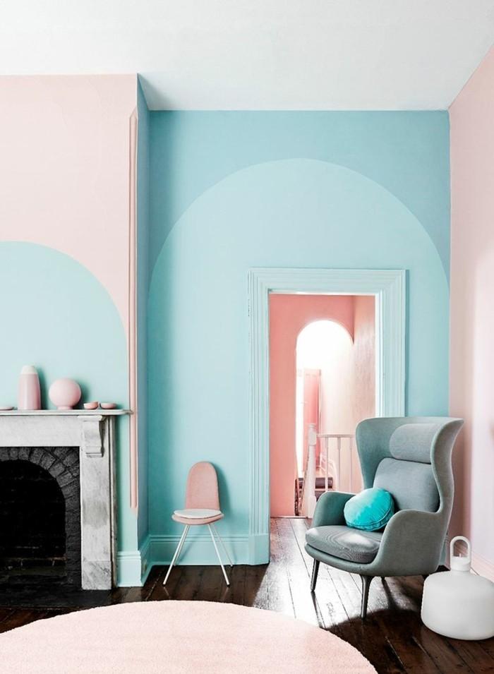wandfarbe-türkis-einmaliges-design-schlafzimmer