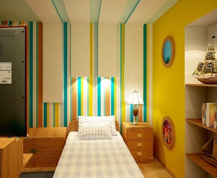 wandfarbe-türkis-einmaliges-schlafzimmer-mit-modernem-design