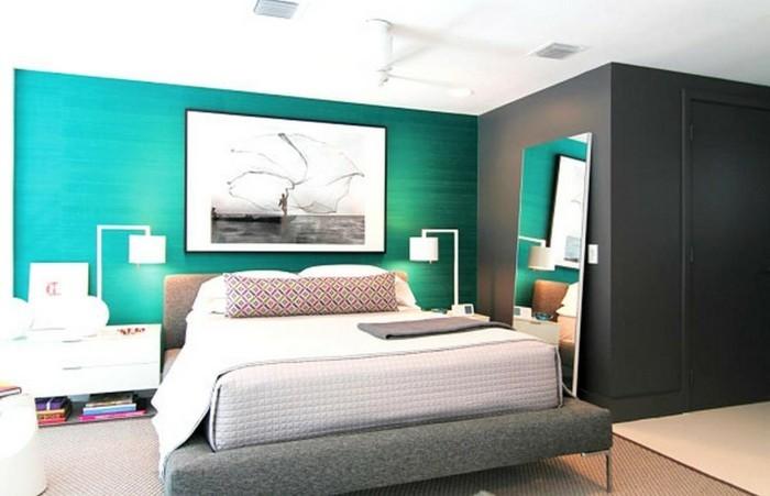 herrliches modell schlafzimmer in der wandfarbe türkis und grau