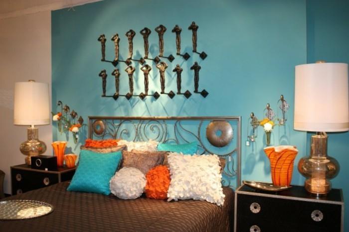 wandfarbe-türkis-gemütliches-schlafzimmer-super-modell