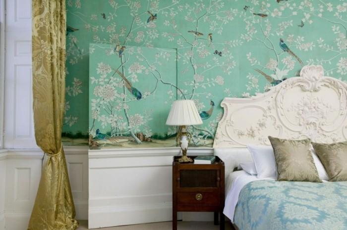 wandfarbe-türkis-herrliches-schlafzimmer-einrichten