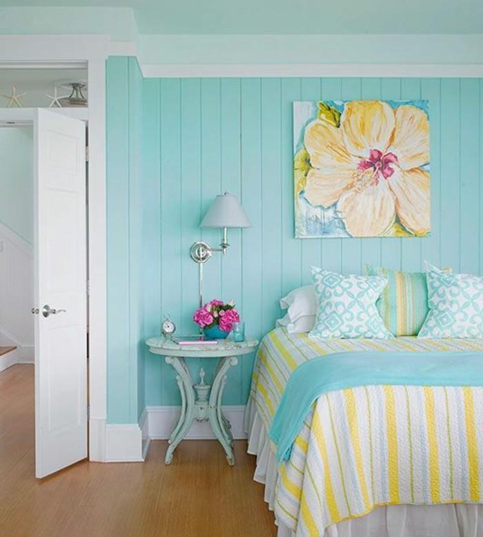 wandfarbe-türkis-kreative-wandgestaltung-im-schlafzimmer