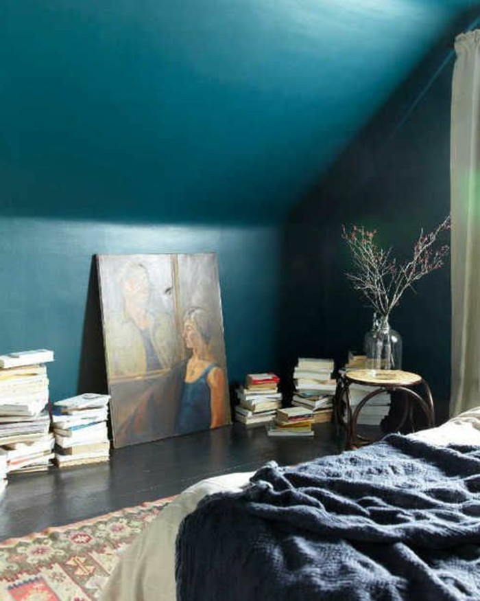 wandfarbe-türkis-sehr-schönes-modell-schlafzimmer-modernes-aussehen