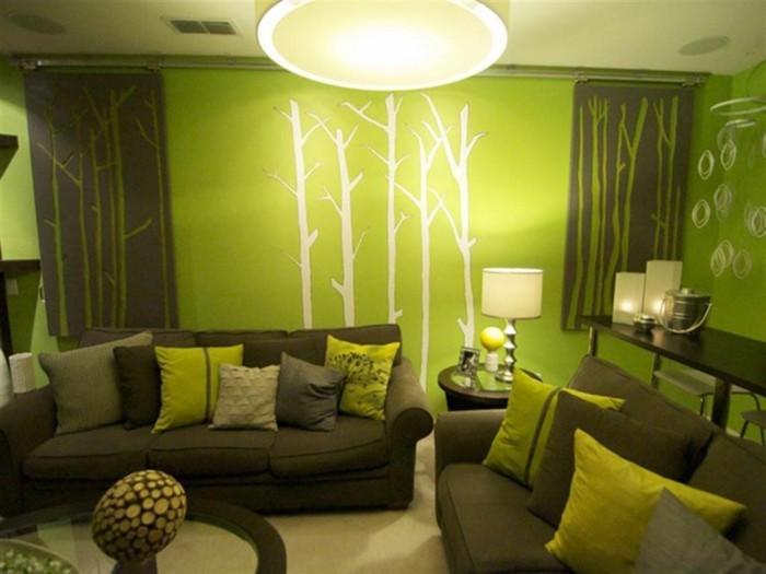 Wandfarbe Wohnzimmer Schne Grne Inspiration