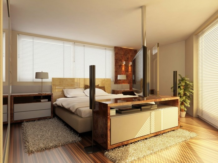 wandfarben-ideen-für-ein-schönes-und-modernes-schlafzimmer-goldene-braune-und-weiße-tönungen