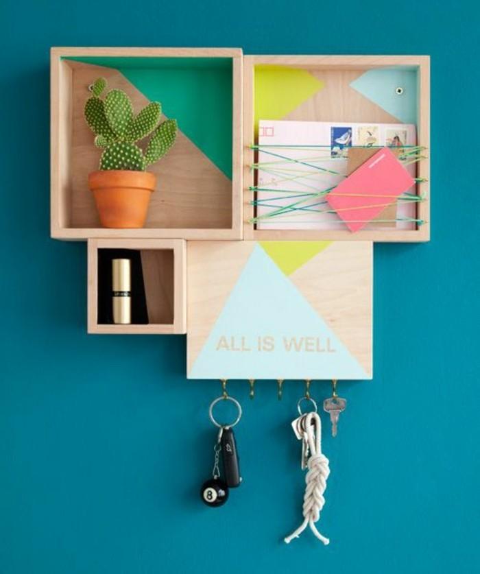 wandfarben-trends-blau-türkis-Regale-farbige-Wände